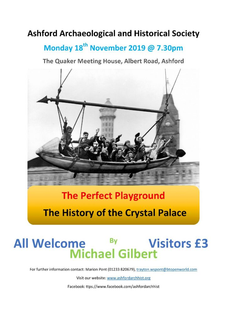 Poster for our November 2019 meeting: The History of Crystal Palace